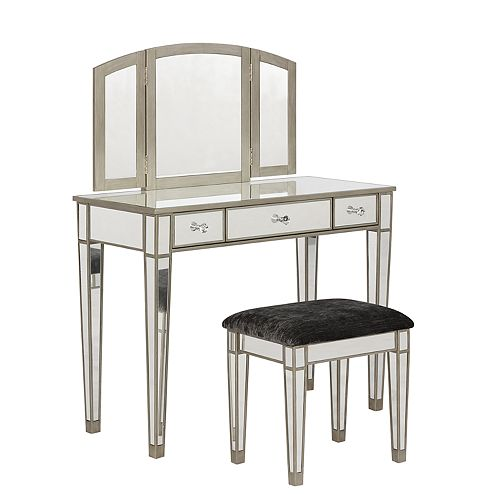 Linon Vanity Set: Linon Tessa Mirrored Vanity 2-piece Set