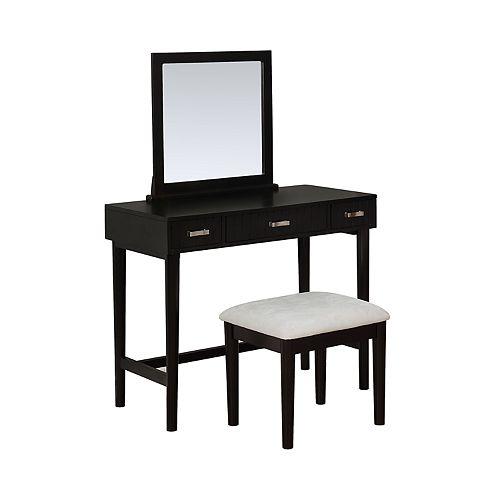 Linon Garbo Mirrored Vanity & Stool 2-piece Set