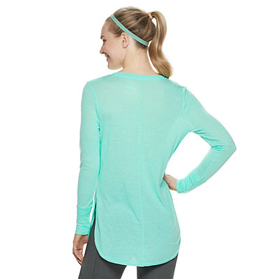 Petite Tek Gear® High Slit Long-Sleeve Tunic Tee
