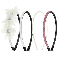 Girls Elli by Capelli 4-pack Flower, Glitter & Simulated Pearl Headbands
