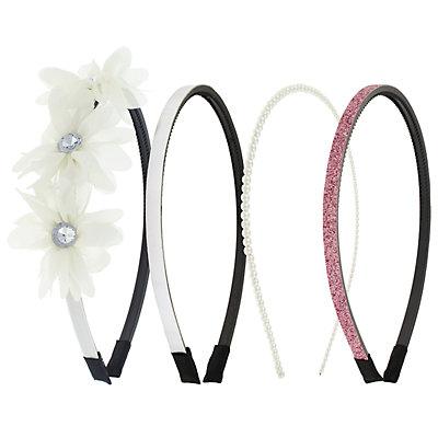 Girls Elli by Capelli 4-pack Flower, Glitter & Simulated Pearl Headbands