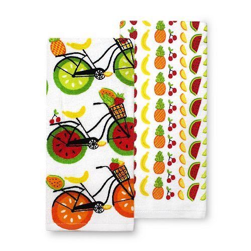 Celebrate Summer Together Fruit Bike Kitchen Towel 2-pk.