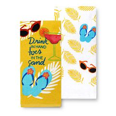 Celebrate Summer Together Drink in Hand Kitchen Towel 2-pk.