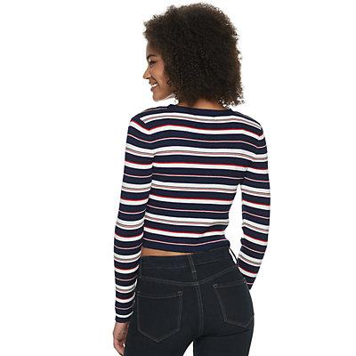 Juniors' Pink Republic Striped Cropped Cardigan