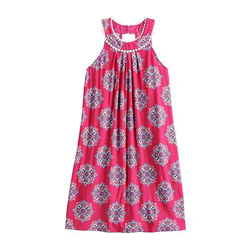 Girls 7-16 Three Pink Hearts Printed Shift Dress