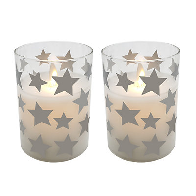 "Star LED 3.75"" x 3"" Unscented Wax Pillar Candle 2-piece Set"