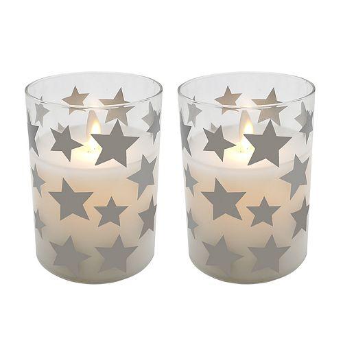 "Star LED 3.75"" x 3"" Unscented Wax Pillar Candle 2-piece Set"