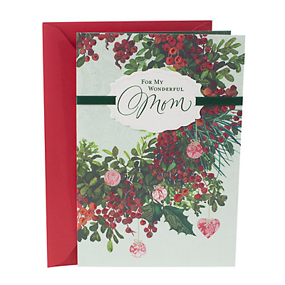Hallmark Floral Wreath Christmas Card for Mom