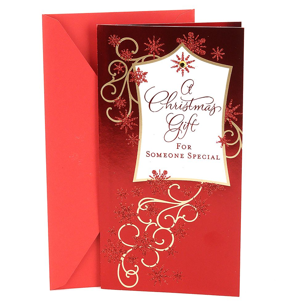Hallmark Red Glitter Christmas Money or Gift Card Holder