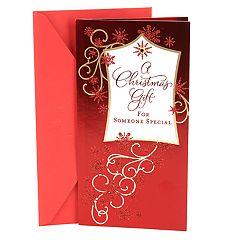 Hallmark Red Glitter Christmas Money or Gift Card Holder