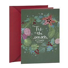 Hallmark Green Floral Wreath Christmas Card