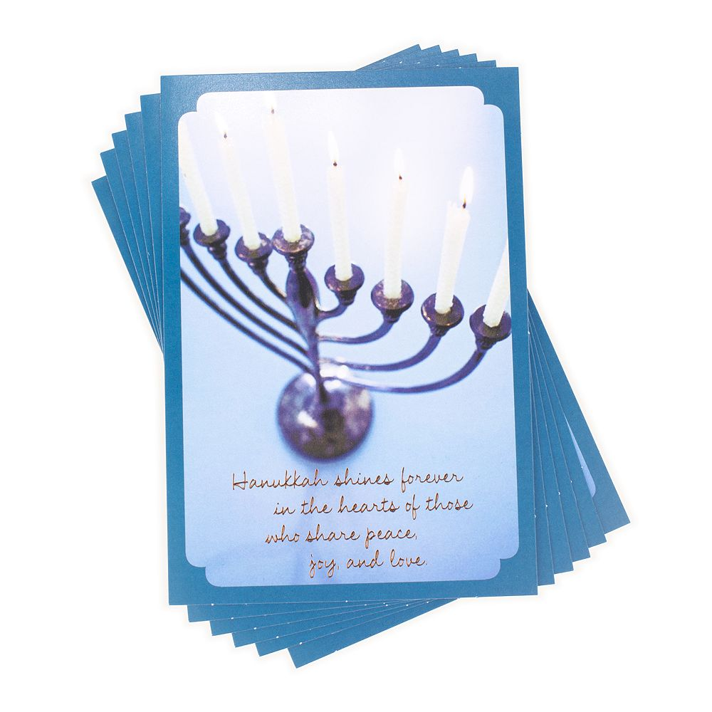 Hallmark 6-Count Tree of Life Blue Menorah Hanukkah Cards