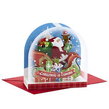 Hallmark Snow Globe Santa Clause Paper Wonder Pop-Up Christmas Card