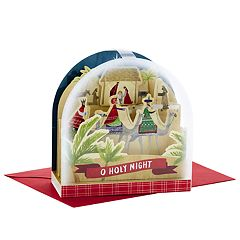 Hallmark Snow Globe Nativity Paper Wonder Pop-Up Christmas Card