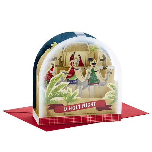 Hallmark Snow Globe Nativity Paper Wonder Pop-Up Christmas Card