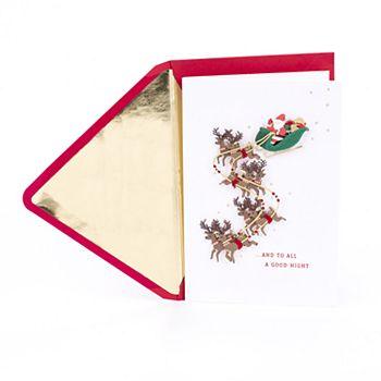 Hallmark Signature Santa in Sleigh with Flying Reindeer Christmas Card