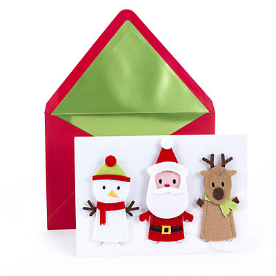 Hallmark Signature Removable Finger Puppets Christmas Card for Kid