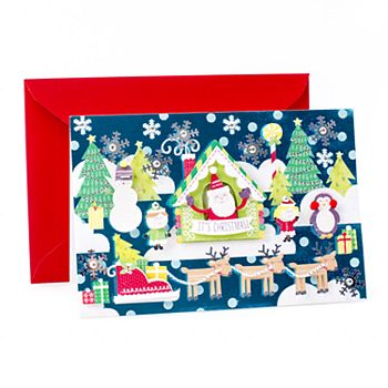 Hallmark Signature Santa & Reindeer Scene Christmas Card