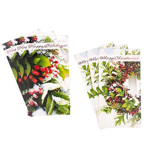 Hallmark 6-Count Wreath & Berries Christmas Money or Gift Card Holder Christmas Cards