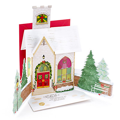 Hallmark Dimensional Church Christmas Card for Family with Light & Song