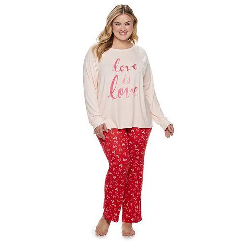 5f053e6128 Plus Size SONOMA Goods for Life™ Raglan Graphic Tee   Pants Pajama Set