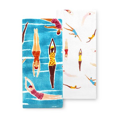 Celebrate Summer Together Swimmers Kitchen Towel 2-pk.