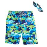 Boys 4-7 ZeroXposur Shark Reef Swim Trunks & Goggles Set