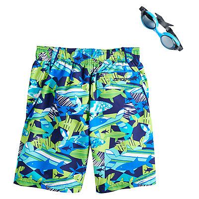 Boys 4-7 ZeroXposur Shark Reef Swim Trunks & Goggles Set