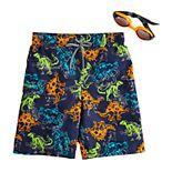 Boys 4-7 ZeroXposur Dinosaur Swim Trunks & Goggles Set