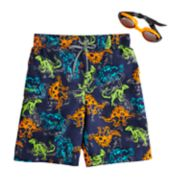 Boys 4-7 ZeroXposur Dinosaur Swim Trunks & Goggles Set