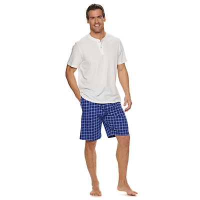 Men's Croft & Barrow® Henley & Plaid Sleep Shorts Set