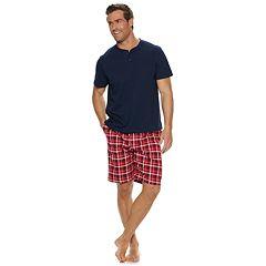 Men's Croft & Barrow® Henley & Plaid Sleep Shorts Set