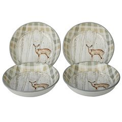 Certified International A Woodland Walk 4-piece Soup Pasta Bowl Set