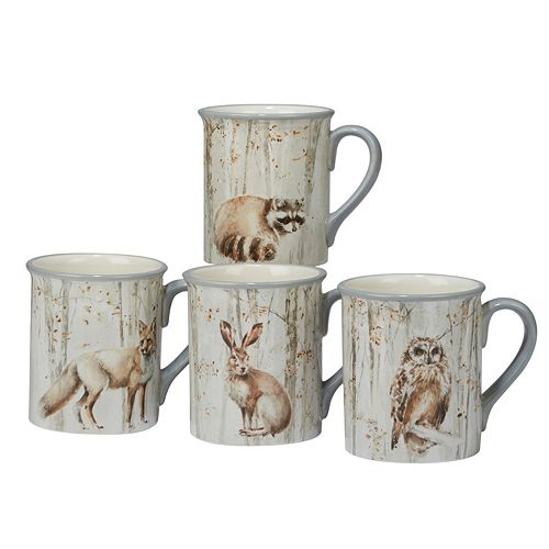 Certified International A Woodland Walk 4-piece Mug Set