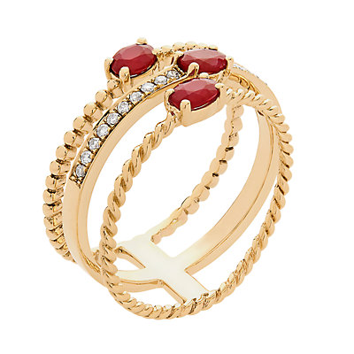 10k Gold Ruby & Diamond Accent Triple Band Ring
