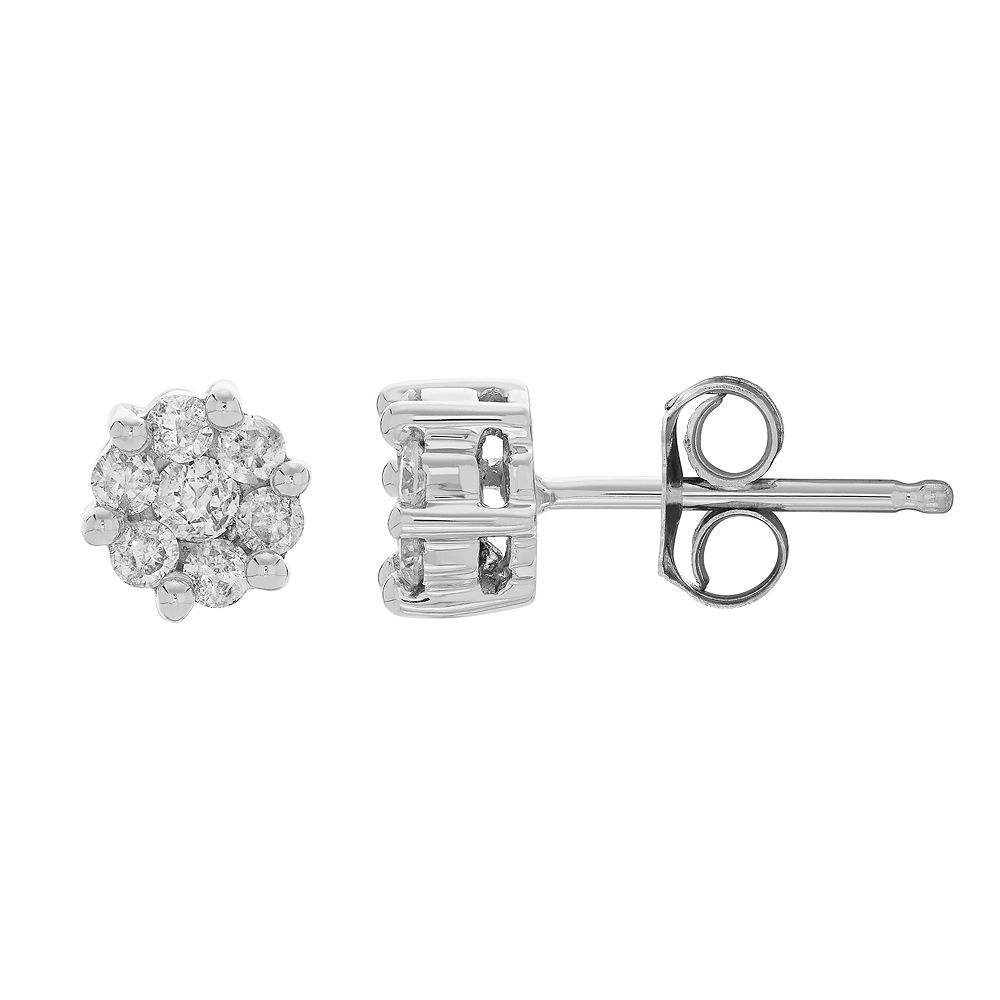 10k White Gold 1/4 Carat T.W. Diamond Cluster Stud Earrings