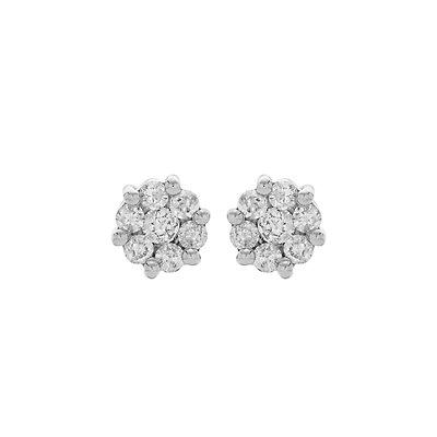 10k White Gold 1/4 Carat T.W. Diamond Cluster Stud Earrings