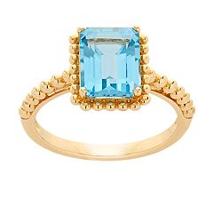 10k Gold Swiss Blue Topaz Ring
