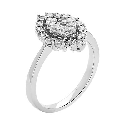 10k White Gold 1/3 Carat T.W. Diamond Marquise Cluster Ring