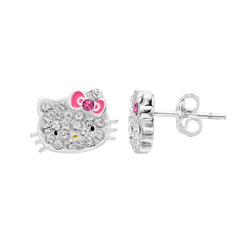 Hello Kitty® Kids' Sterling Silver Crystal Stud Earrings