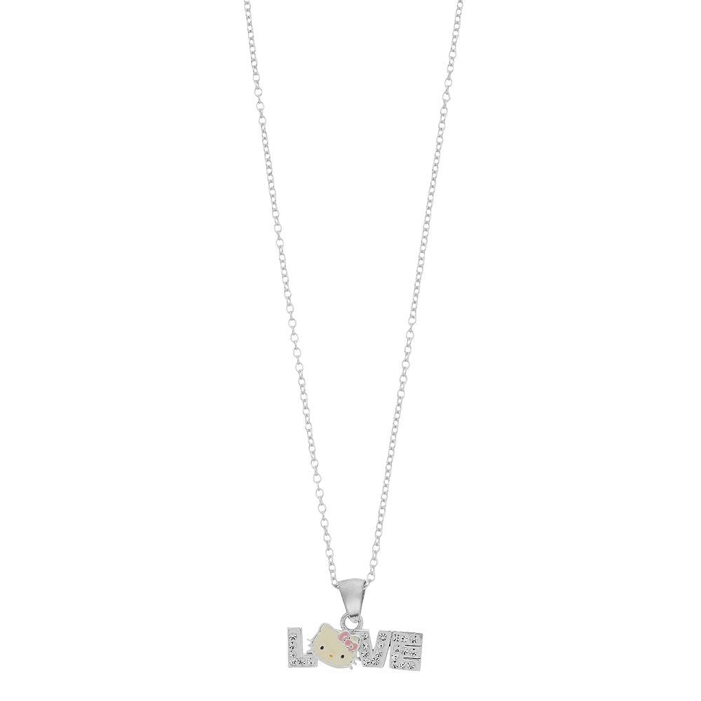 """Hello Kitty Sterling Silver Simulated Crystal """"Love"""" Charm Necklace"""