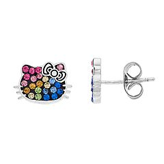 Hello Kitty Sterling Silver Multicolor Simulated Crystal Stud Earrings