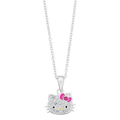 Hello Kitty® Kids' Sterling Silver Crystal Charm Necklace