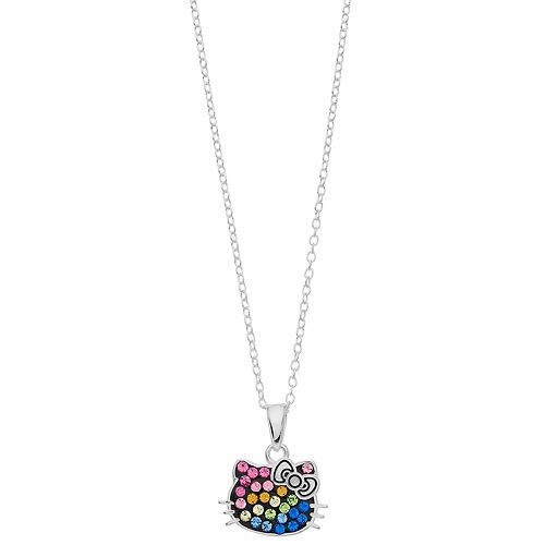 Hello Kitty Sterling Silver Multicolor Simulated Crystal Charm Necklace
