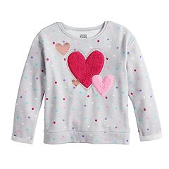 Girls 4-10 Jumping Beans® Softest Fleece Fuzzy Heart Applique Pullover