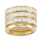 Sterling Silver Cubic Zirconia 4 Piece Stack Ring Set
