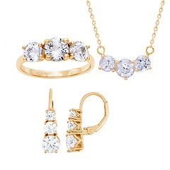 601f65bcf 14k Gold Over Sterling Silver Past Present & Future Cubic Zirconia Necklace,  Ring & Earring