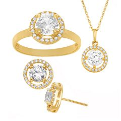 14k Gold Over Sterling Silver Cubic Zirconia Halo Pendant Necklace, Stud Earring & Ring Set