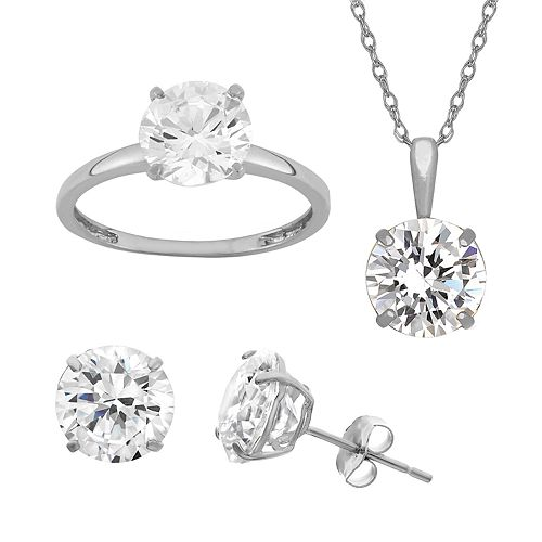 14k Gold Over Sterling Silver Round Solitaire Ring, Necklace and Stud Earring Set