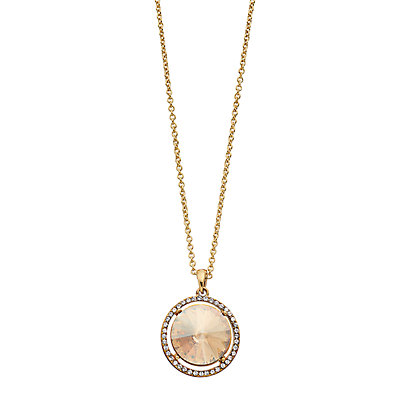 Brilliance Halo Oval Pendant Necklace with Swarovski Crystal